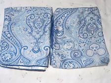 Vintage King Pillow Shams-Ralph Lauren/Chaps-Mens Room-Blue Paisley 100% Cotton