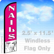 Nails Windless Swooper Feather Flag 25x115 Manicure Salon Banner Sign Pf