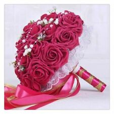 Artificial Rose Flower Bouquet Holding Flowers Ribbon Rose Flower Ball Accessory