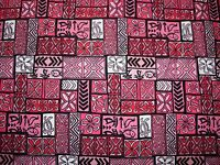 1.9 YARDS Vintage HOT PINK BLACK COTTON TRIBAL MOD HAWAIIAN Fabric 2 YARDS 45X70
