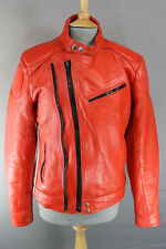 SUPERB DYNAMIC LEATHERS RED & WHITE COWHIDE BIKER JACKET 38 INCH