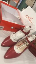 NEW Leona Edmiston Leather Red Heels Shoes Size 40
