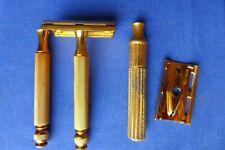Vintage 1946-50 Gillette Gold Ball End Tech Safety Razor DE Double Edge No Date