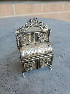 Continental Dutch 800 Silver Miniature Cabinet Desk circa 1890