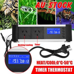 Reptile Thermostat Aquarium Cooling Heat Temperature Day Night Timer Controller