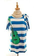 French Designer JC de Castelbajac JC DC Guitar pattern Stripe Cotton Tee M