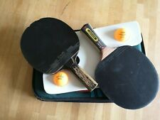 2 X DONIC racket table tennis ping pong bat Japan+ pouch JOOLA + 2 balls STIGA