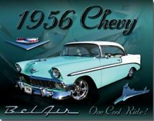 1956 Chevy Bel Air Metal Ad Sign Picture Auto Shop Repair Garage Diner Gift USA