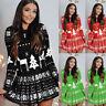 ❤️ Women's Christmas Swing Dress Ladies Casual Long Sleeve XMAS Party Mini Dress
