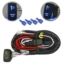 12V 16 Gauge 40A Relay Wiring Harness Blue Whip Rocker Switch for LED Light Bar