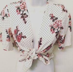 Charlotte Russe Polka Dot Floral Tie Top