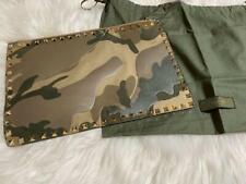 VALENTINO GARAVANI Rockstud Leather Clutch Bag Camouflage Excellent