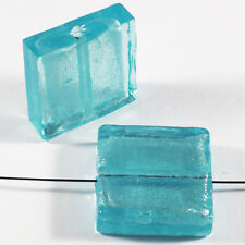 Set of 4 Glass Beads Sheet D'Silver Square 20mm Aquamarine