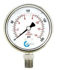 2 12 Pressure Gauge Stainless Steel Case Liquid Filled Lower Mnt 200 Psi