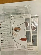 (3)  Mary Kay Signature 5 COLOR SAMPLE CARDS Shadow Blush Lipstick CLASSIC CHIC