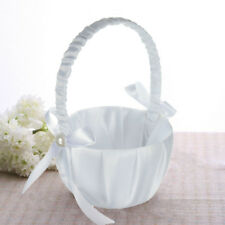 Romantic White Satin Bowknot Pearl Flower Girl Basket Wedding Ceremony Party
