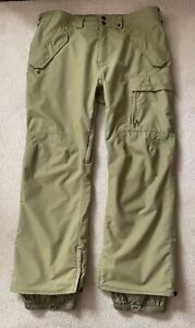 Burton DryRide Men's Snowboard Ski Snow Cargo Pants XXL Olive Green Waterproof