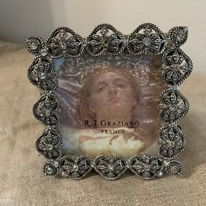 """R.J. GRAZIANO Jeweled Picture Frame With Austrian Crystal  3.5""""x3.5"""" Square NICE"""