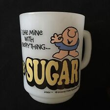 Vintage 1979 Ziggy Cartoon Coffee Mug Cup Anchor Hocking Fire King Milk Glass