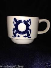 ENESCO NAUTICAL THEMED CUP COLBALT BLUE ANCHOR LIFE PRESERVER PORTAL ROPE CIRCLE
