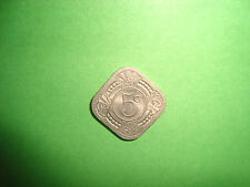 1943 Netherlands Curacao five cent coin - RARE in great condition