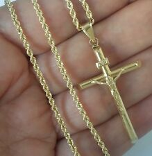 """10k yellow gold rope chain 22 inches long 2 mm and Jesus crucifix pendant 1.75"""""""