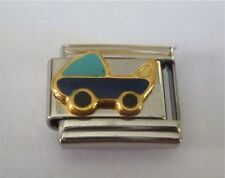9mm Italian Charms Charm Baby Blue Pram Baby Boy Carriage