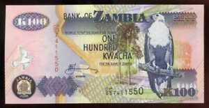 ZAMBIE  100 kwachas  ( avec sa fiche )