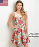 New Women Spring Sleeveless Taupe White Red Floral Fit and Flare Dress S M