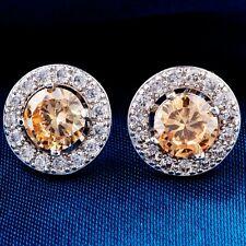 Wonderful White Gold Filled Round Cubic Zircon Ladies Stud Earrings