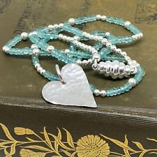 Aquamarine and Sterling Silver Hammered Heart Necklace Handmade
