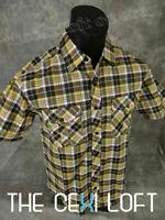 Mens AMERICAN CASUAL SHORT SLEEVE Shirt Faded Blk Yello Plaid Pleated Pockets 40
