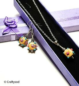 Silver Colourful Necklace Earring Set Pierced or Clip-On Glass Bead Ladies Gift
