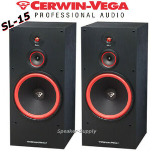 "Pair Set Cerwin Vega SL-15 15"" 3-Way Floor Tower Speaker 400 Watts Home Theater"