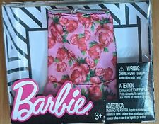 BARBIE DOLL 2017 Fashion Skirt with Red Floral Print Pink Flared Bottom Hem NIB