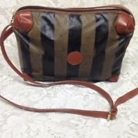 Fendi Pekin Stripes Black Soft Nylon with Brown Leather Trim 9in x 7in x 3in