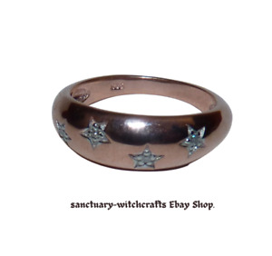 Rose Gold Over Sterling Silver Gypsy Style Diamond Stars ring. Size P.