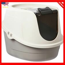 Extra Large Cat Litter Box Pan High Enclosed Hooded Covered Kitty House Grey