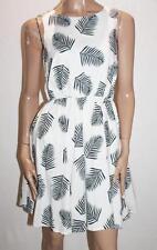 TARGET Brand White Leaf Print Sleeveless Flare Dress Size 10-S BNWT #SB55