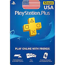 PSN PLUS 12 MONTH CARD FOR PLAYSTATION PLUS USA