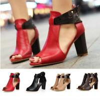 Women High Block Heels Sandals Ladies Peep Toe Zip Ankle Strap Parrty Shoes Size