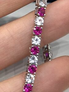 Lab-Created Ruby & White Sapphire Sterling Silver Tennis Bracelet MSRP $350.00