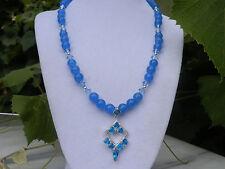 "18""  Handmade Blue Apatite Swarovski Crystal Necklace with Blue Topaz Pendant"
