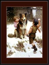 English Picture Print Collie Dog Dogs Puppy Children Snow Vintage Poster Art