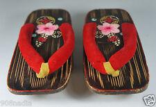 VINTAGE JAPANESE KIMONO GETA WOODEN SANDALS HAND PAINTED  FLOWERS 7 3/4''