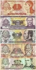 Honduras 1, 2 , 5 , 10 & 20 Lempiras Uncirculated Notes
