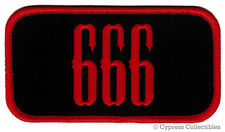 666 - IRON-ON PATCH NEW EMBROIDERED DEVIL SATANIC EVIL NAMETAG red NUMBER BEAST