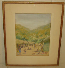 RARE MARJORIE QUENNELL ILLUSTRATION PAINTING of AFRICAN VILLAGE w PEOPLE & HUTS