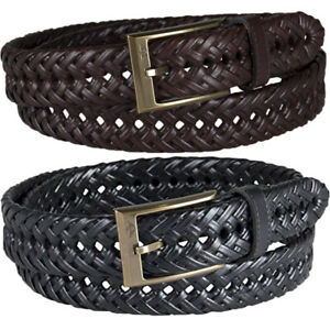 Dockers Belt Men's 32mm Everyday Essentials Leather Braided Casual, Dress Belt