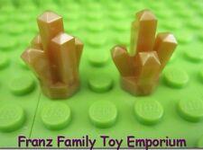 New LEGO Lot of 2 Pearl Gold Rock / Gem Castle Space Brick Part